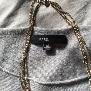 Fate Sweaters - BOGO 50% • FATE • GREY WITH NAVY BLUE STRIPES